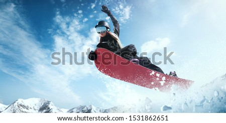Snowboarder in action. Extreme winter sports. #1531862651
