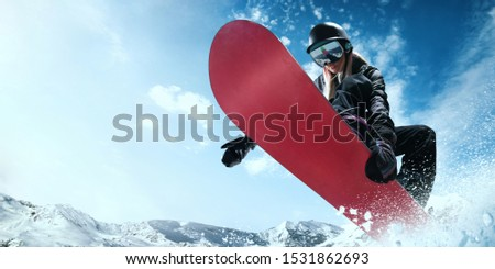 Snowboarder in action. Extreme winter sports. #1531862693