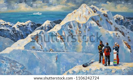 Snowboarders at the ski resort of Rosa Khutor, near Sochi, Russia. Painting: canvas, oil. Author: Nikolay Sivenkov