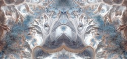 snowfall, Tribute to Dalí, abstract symmetrical photograph of the deserts of Africa from the air, aerial view,abstract expressionism,mirror effect, symmetry,kaleidoscopic