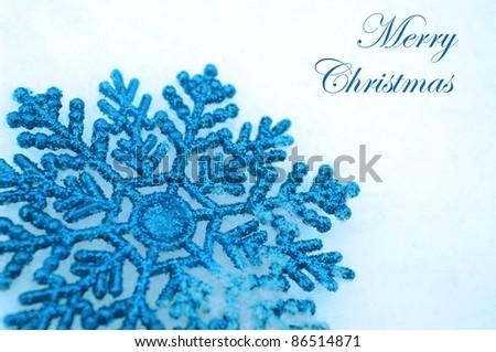 snowflakes on snow - stock photo