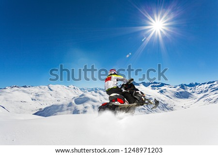 snowmobile excursion in a snowy Alpine valley Сток-фото ©