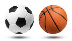 Soccer ball and Basketball ball on isolated. File contains a clipping path.