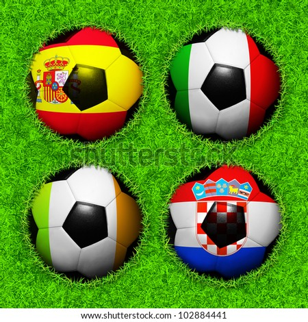 4 Soccer balls with flag pattern on the grass, Group C