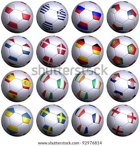 16 soccer balls with the flags. Hi-res 3D render on white with clipping path, detailed flags, and subtle texture. 1 row per group