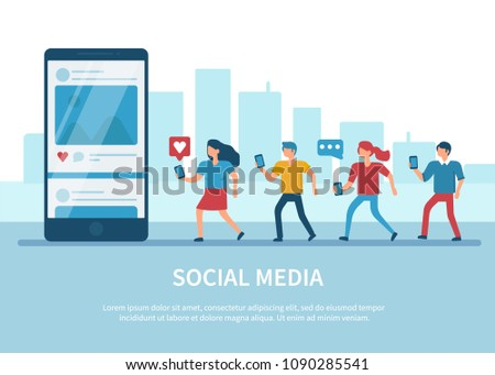 Social media concept banner with text place. Flat style minimal illustration isolated on white background. #1090285541