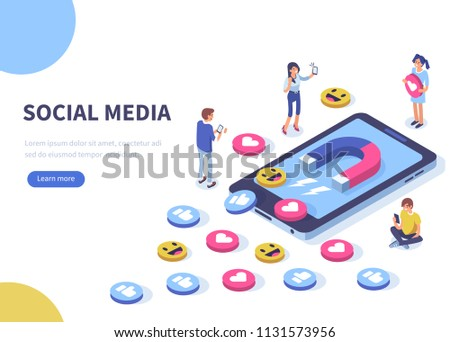 Social media concept with characters.  Flat isometric illustration isolated on white background.  #1131573956