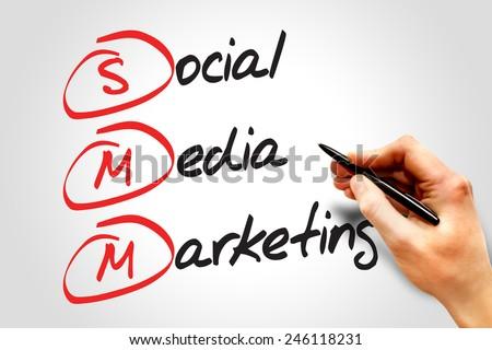 Social Media Marketing (SMM), business concept acronym
