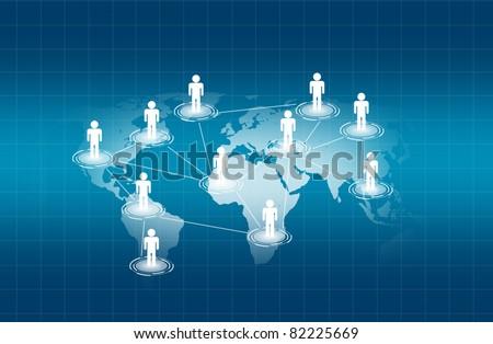 social network  on world map