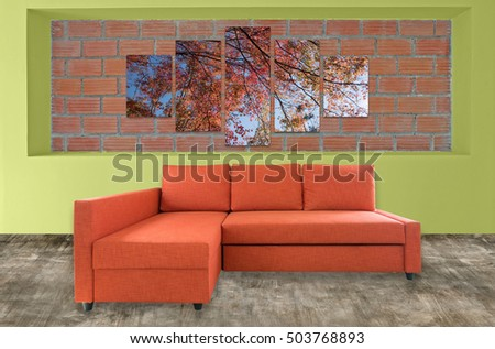 sofa furniture and nature photo collage on brick wall. Hi resolution photo complementary with clipping path