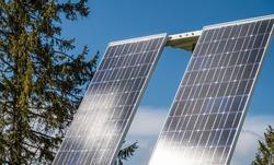 Solar modules at a small farm power station