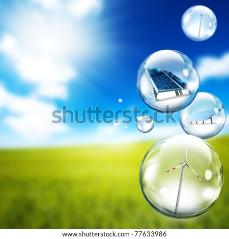 Solar panel and wind turbine  inside soap bubbles