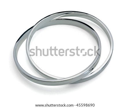 Solid sterling silver bangle isolated on white Stock photo ©