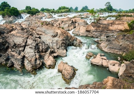Somphamit waterfall from Mekong River in Champasak Province, Laos, Si Phan Don (four thousand islands)