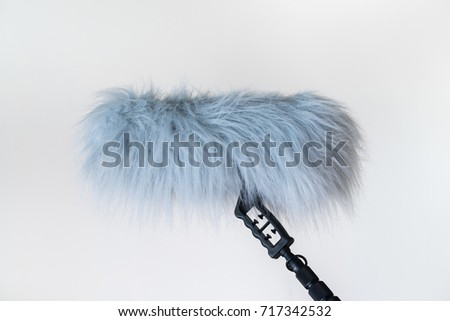 Sound recorder microphone, boom mic on white background