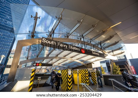 South Ferry subway entrance in Manhattan Stock fotó ©