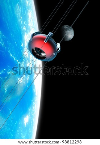 Space elevator rising into earth orbit with the moon in background. The Space Elevator uses a carbon nanotube ribbon that stretches from the surface of the earth to a counterweight in space. - stock photo
