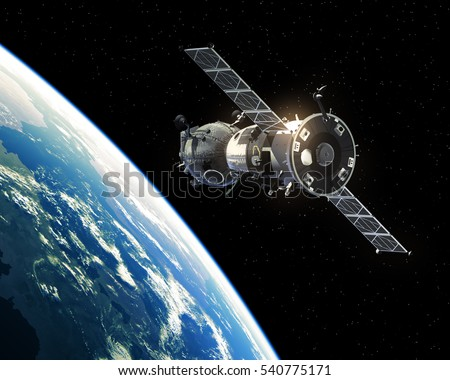 Spacecraft Orbiting Earth. 3D Illustration.