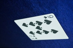 9 Spade and  king of spade card on baccarat game.playing cards.Punto Banco or Baccarat game.