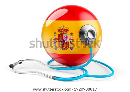 Spainish flag with stethoscope. Health care in Spain concept, 3D rendering isolated on white background Foto stock ©