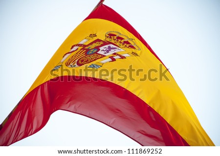 Spanish flag waving in the sky