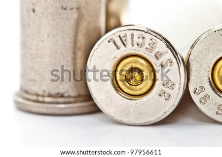 .38 special bullet shells for revolver handgun on white background