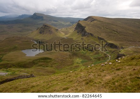 Spectacular rock formations at Quiraing, Isle of Skye, Scotland