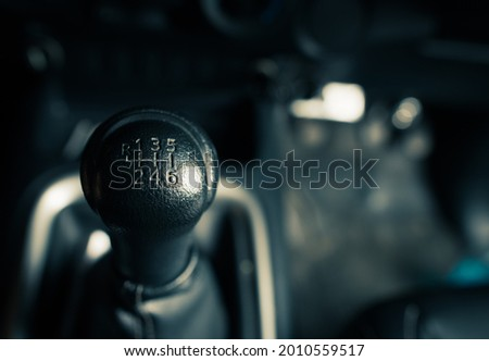 6 speed gearstick of a car,manual transmission gear shift Stock photo ©