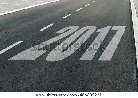 2017 speed limit sign on highway, new year concept #486605221