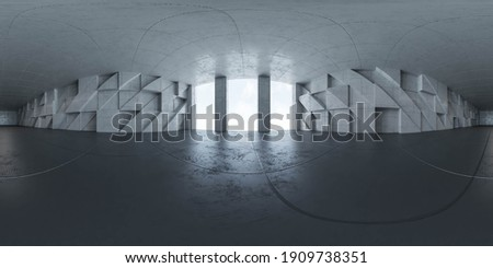 360 spherical panorama view of modern concrete futuristic architecture hall 3d render illustration