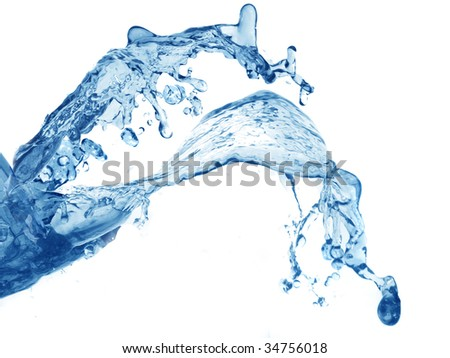 splash of blue water on a white background