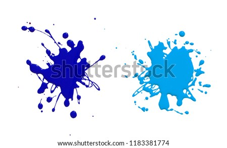 splats splashes and blobs of brightly colored paint in different shapes drips isolated on white  #1183381774