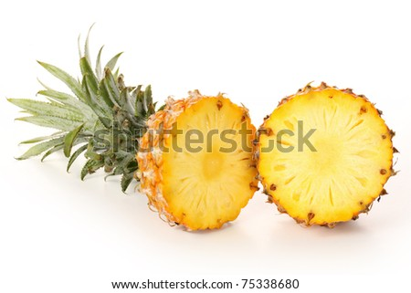 split pineapple isolated on white background - stock photo