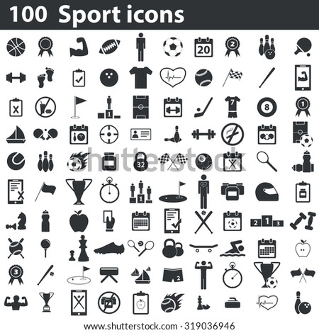 100 sport icons set simple. Illustration of 100 black sport icons for web and digital
