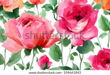 spring flowers hand painted watercolor roses