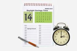 2021 Spring Forward Daylight Savings Time March calendar
