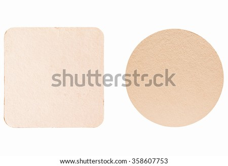 Square and round blank cardboard beermat for a pint of beer isolated over white background vintage
