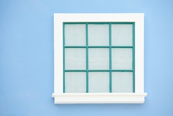 square window classic on the bule wall