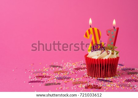 21st Birthday Cupcake Pink Background 721033612