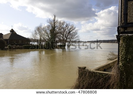 ST IVES, UK - MAR. 01: Water rises high in aftermath of February stormy weather, March 01, 2010 in St Ives, Cambridgeshire, UK