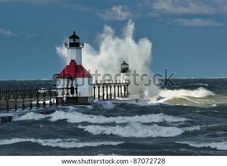 St. Joseph Lighthouse ,St. Joseph Michigan USA Sun shining on outer Lighthouse
