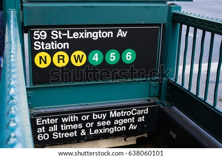 Shutterstock 59 St-Lexington subway sign ,New York