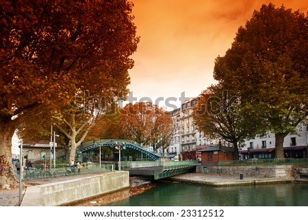 St Martin canal lock in paris - stock photo