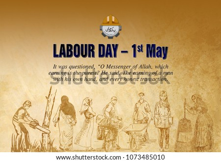 1st MAY, Happy Labour Day, Concept of worker, students & farmers