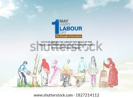 1st MAY, Happy Labour Day, Concept of worker, students, farmers and women