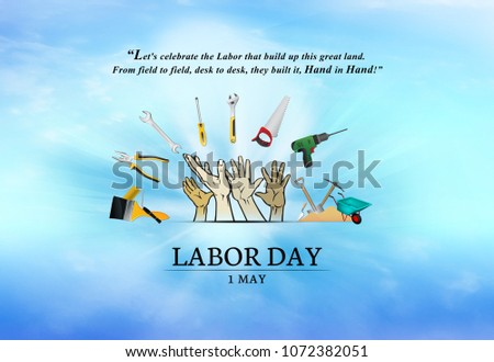 1st MAY, Happy Labour Day, tools and equipment for work in construction