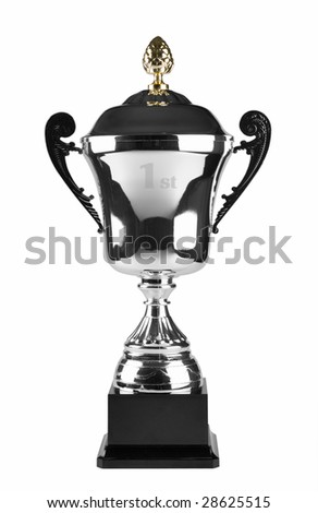 1st or first winner silver trophy isolated on white background
