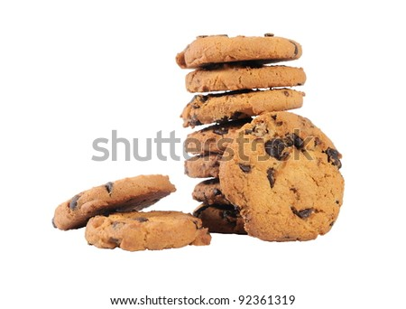 stack of chocolate chips cookies isolated on white background