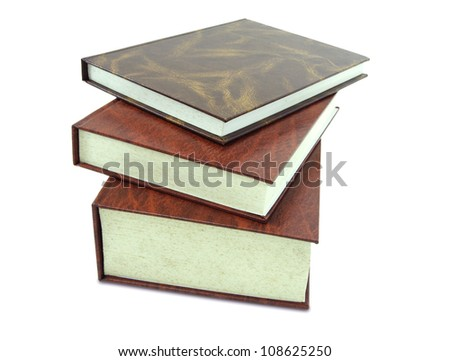 stack of leather book isolated on white background