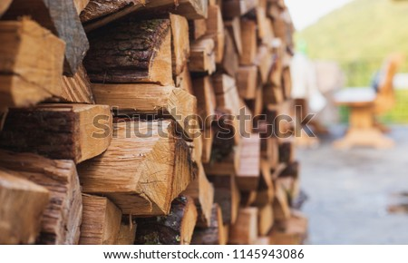 Stacks of Firewood. Preparation of firewood for the winter.Pile of Firewood.Firewood background #1145943086